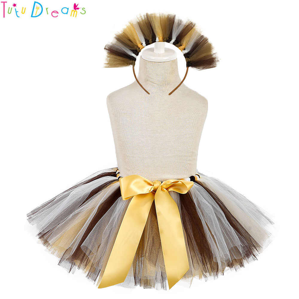80c25abd41 Cute Princess Girl Little Lion Cosplay Tutu Skirt with Matching Headband  Brown White Lions Theme Birthday