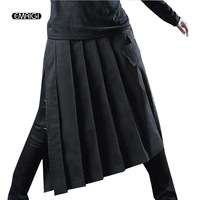 Men Shorts Skirts Hypotenuse Long Tether Apron Shorts Male Fashion Casual Shorts Nightclub Punk Gothic Stage Costumes