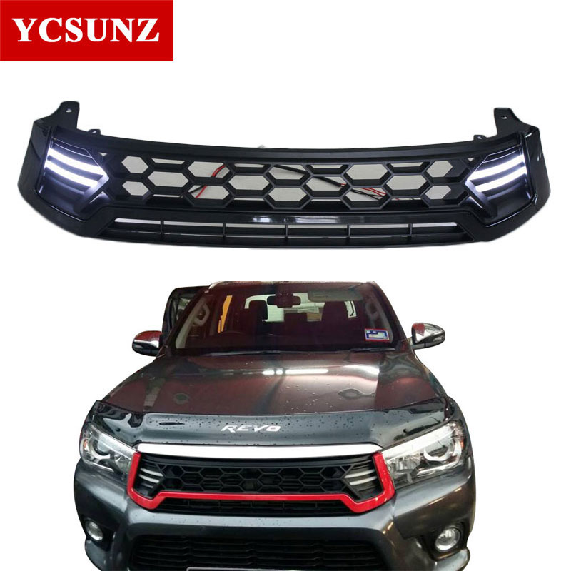 2016 2017 LED Raptor Grille For Toyota Hilux Revo Front Grill Cover Black Raptor Grille Accessories
