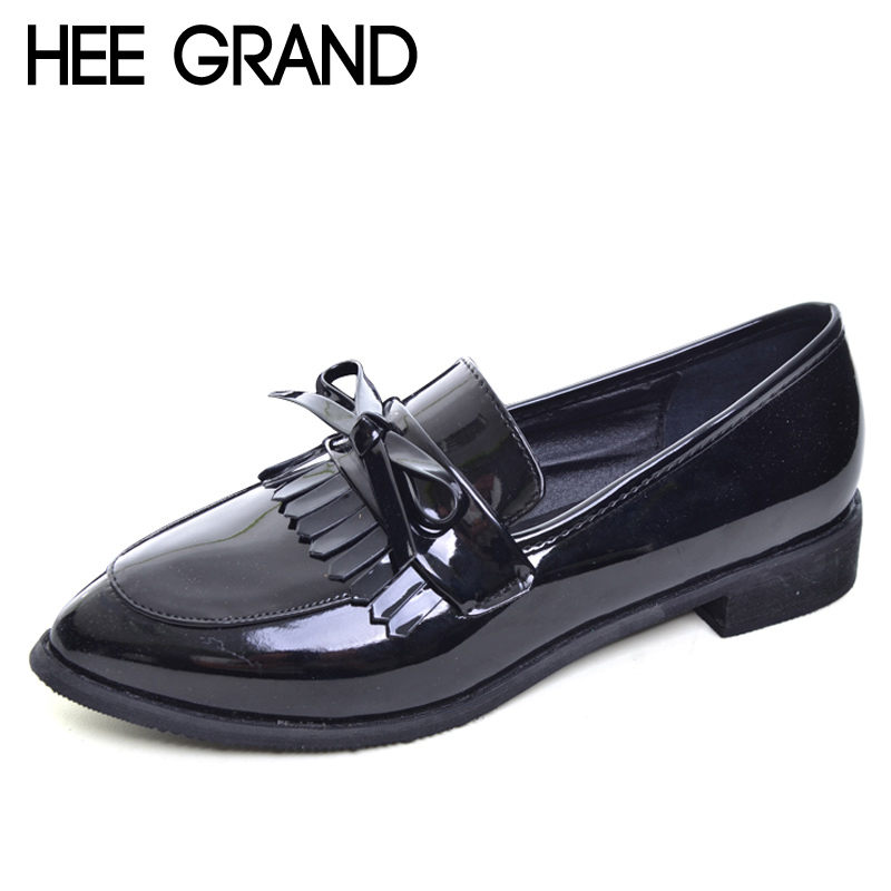 HEE GRAND 2017 Tassel Oxfords Patent PU Leather Brogue Shoes Woman Slip On Casual Creepers Pointed Toe Women Pumps Shoes XWD5149 high quality women oxfords low heel casual shoes patent leather tassel comfort slip on round toe creeper black loafers