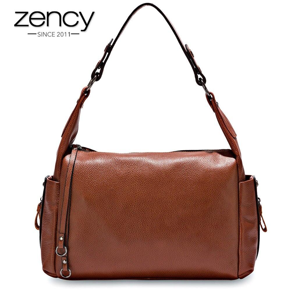 Zency Hobos ขนาดเล็ก 100% ของแท้หนังผู้หญิงไหล่กระเป๋า Charm สีม่วงกระเป๋าถือแฟชั่น Crossbody สีดำกระเป๋า-ใน กระเป๋าสะพายไหล่ จาก สัมภาระและกระเป๋า บน   1