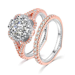 ROMAD Crystal-Set Finger-Ring Rhinestone Engagement Rose-Gold Women Jewelry Wedding Female