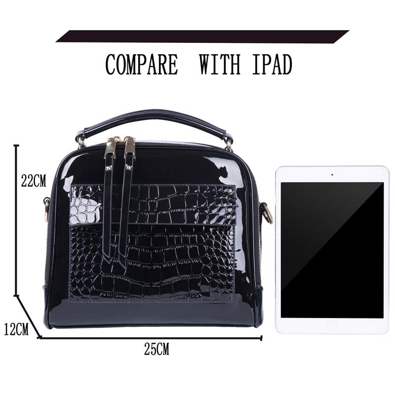 Image 3 - FLYONE Crossbody Bags for Women 2019 Women Handbag Crocodile Patent Leather Shopper Tote Shoulder Bag Women's Bag Bolsa Feminina-in Shoulder Bags from Luggage & Bags