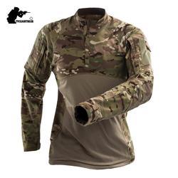 Военные Для мужчин s камуфляж тактический футболка с длинным рукавом бренд хлопок дышащая боевой Frog рубашка Для мужчин Training рубашки S-3XL AF112