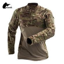 Военные Для мужчин s камуфляж тактический футболка с длинным рукавом бренд хлопок дышащая боевой Frog футболка Для мужчин Training рубашки S-3XL AF112