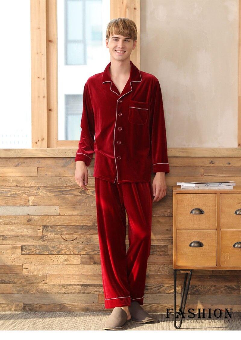 2019 Red Velvet Pajamas Men Winter Nightwear Vintage Male Pajama ... f2b83138e