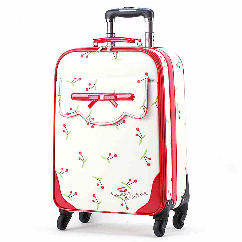 Korea Fashion Batterystraw Travel Luggage Bags On Universal Wheels,high Quality Female Lovely 16 20 24inches Trolley Luggages