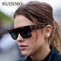 2017 Fashion Square Sunglasses Women Flat Top Style Brand Design Vintage Sun glasses Female Rivet Shades Big Frame Shades UV400