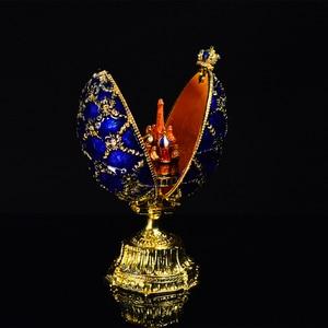Image 2 - QIFU Handwerk Faberge Ei mit Schöne Kleine Burg Metall Geschenk