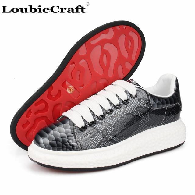 finest selection 732d0 e0940 Loubie Craft Grey Patent Leather Python Sneakers Platform Flats Men's  Creepers Shoes Red Bottoms Trainers Low top Casual Shoes-in Men's Casual  Shoes ...