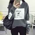 Korean Pop Autumn Harajuku Bird Letter Printed Hoodies Women Loose Round Neck Fleece Tracksuits Pullover Cool Sweatshirt Female