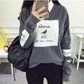 Pop coreano Outono Harajuku Carta Pássaro Impresso Hoodies do Pulôver Das Mulheres Soltas Em Torno Do Pescoço Velo Fatos De Treino Legal Moletom Feminino