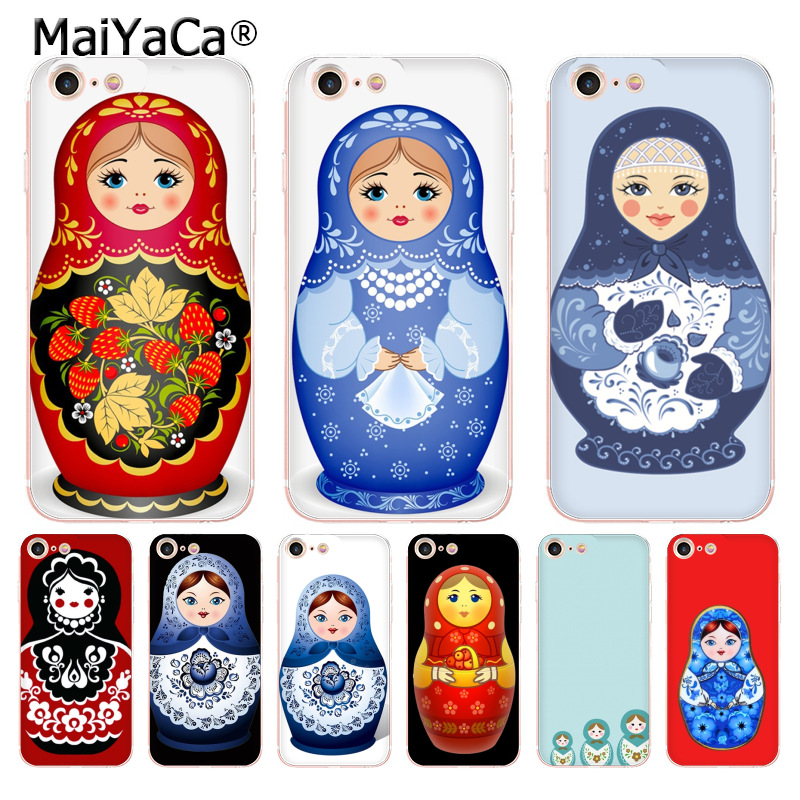 Maiyaca Russian Nesting Doll Novelty Fundas Phone Case Cover For Apple Iphone 5 5s Se X Xs Xr Xsmax 6s 7 8 Plus Phone Case Half-wrapped Case