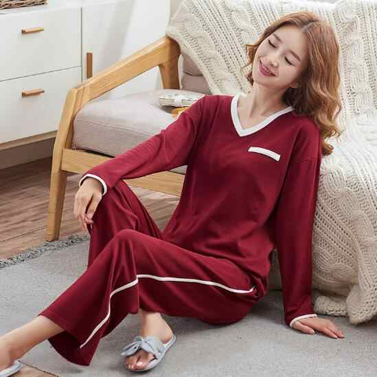 Fdfklak зимние пижамы для женщин с длинным рукавом Пижама Femme большой размер комплект свободных пижам для дам Хлопок Pijamas Mujer Женская одежда для сна