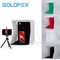 GOLDFOX 1pc Mini Folding Studio Diffuse Soft Box With LED Light Support Black White Green Red