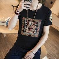 מותג אופנה חולצת טריקו גברים clothing 2017 slim fit קיץ חולצת t גברים חולצת טריקו עיצוב תיקון דרקון סין מזדמן זכר בגדי 5XL
