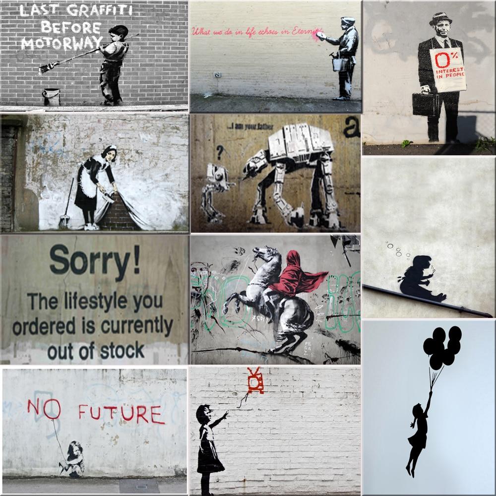 Banksy Graffiti Leinwand Kunstdrucke Gemälde Wand Kunst Poster Pop