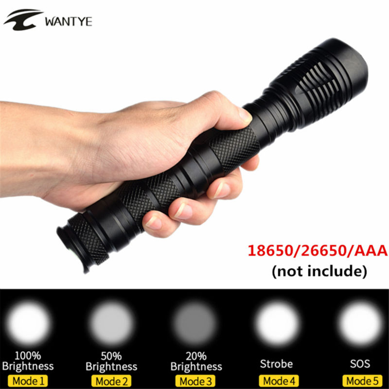 3800Lumens Flashlight Torch XML T6 LED Zoomable 5-Mode zoom Camping Hunting Flash Light Lantern 18650 26650 AAA Lamp led 1600 lumens 3 mod zoomable fashlight t6 light 3 aaa 1 18650 rechargeable flash light head torch lantern lamp