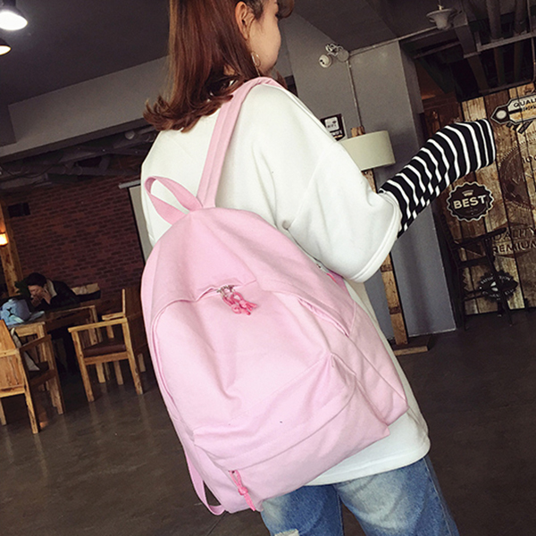 Canvas Plain Women Backpack New Japan Ring Leisure Travel Backpack For Girl Female Shoulder Bag Rucksack Mochila My Bagpack #3