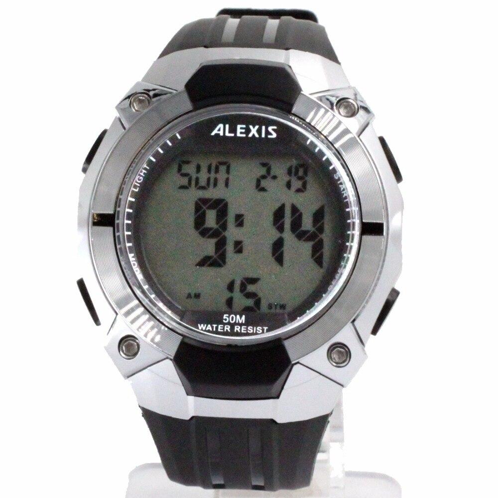 ALEXIS Brand DW452B Date BackLight PNP Shiny Silver Bezel Water Resist Boy Girl Digital Watch