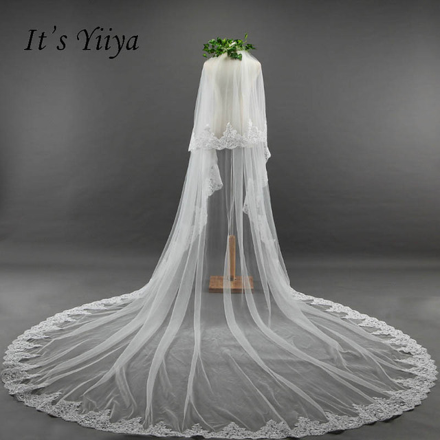 It S Yiiya New White Beauty Veus De Noiva Veil Two Layer 3 5m Lace Edge
