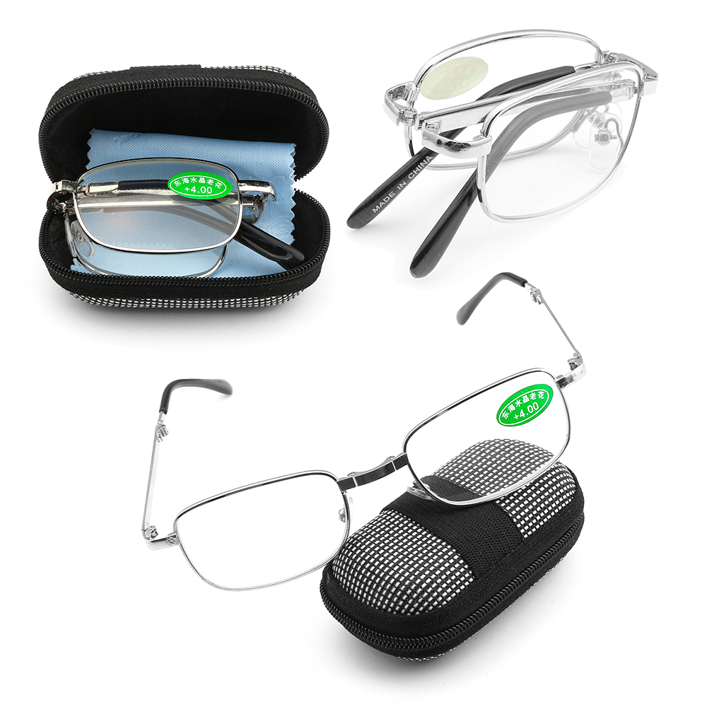 Unisex +1.0~4.0 Diopter Rimless Magnetic Eyeglasses Fashion Reading Glasses with Box Ultralight Vision Care Folding Eyeglasses 1