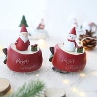 Christmas snowman creative romantic music box rotating girls boys gifts music box new year gift snow ball christmas carousel