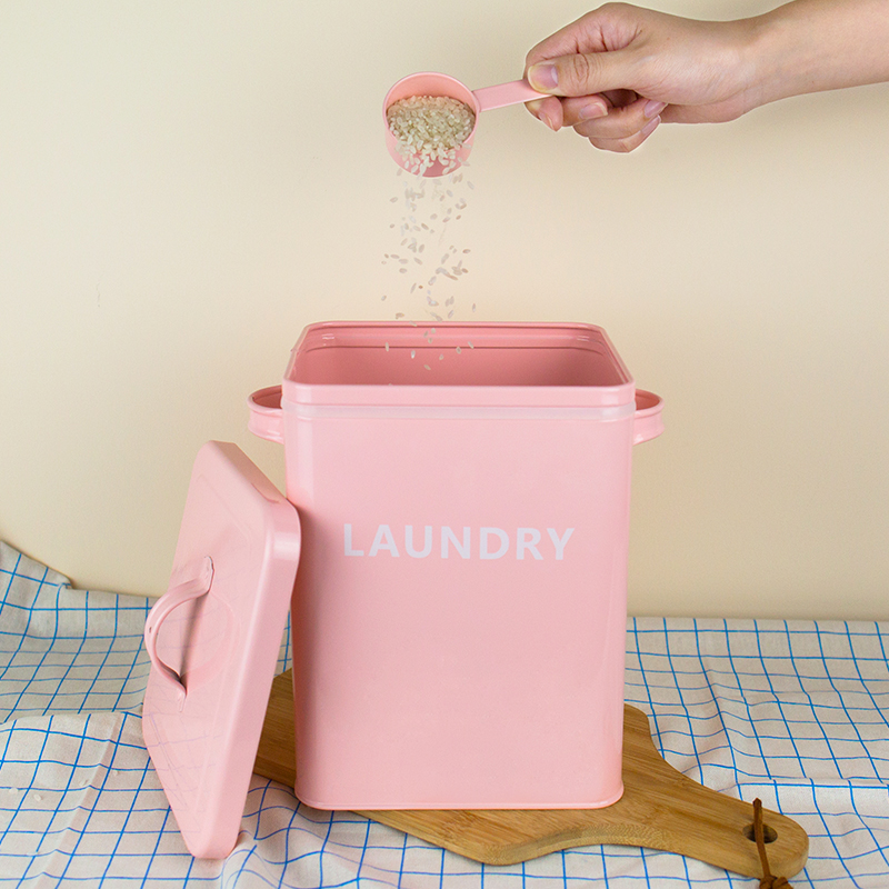 1Pcs Laundry Rice Storage Box Square Lovely Jar Iron Candy Box Tin with Spoon Storage Snack Gift Durable High Quality Thickness