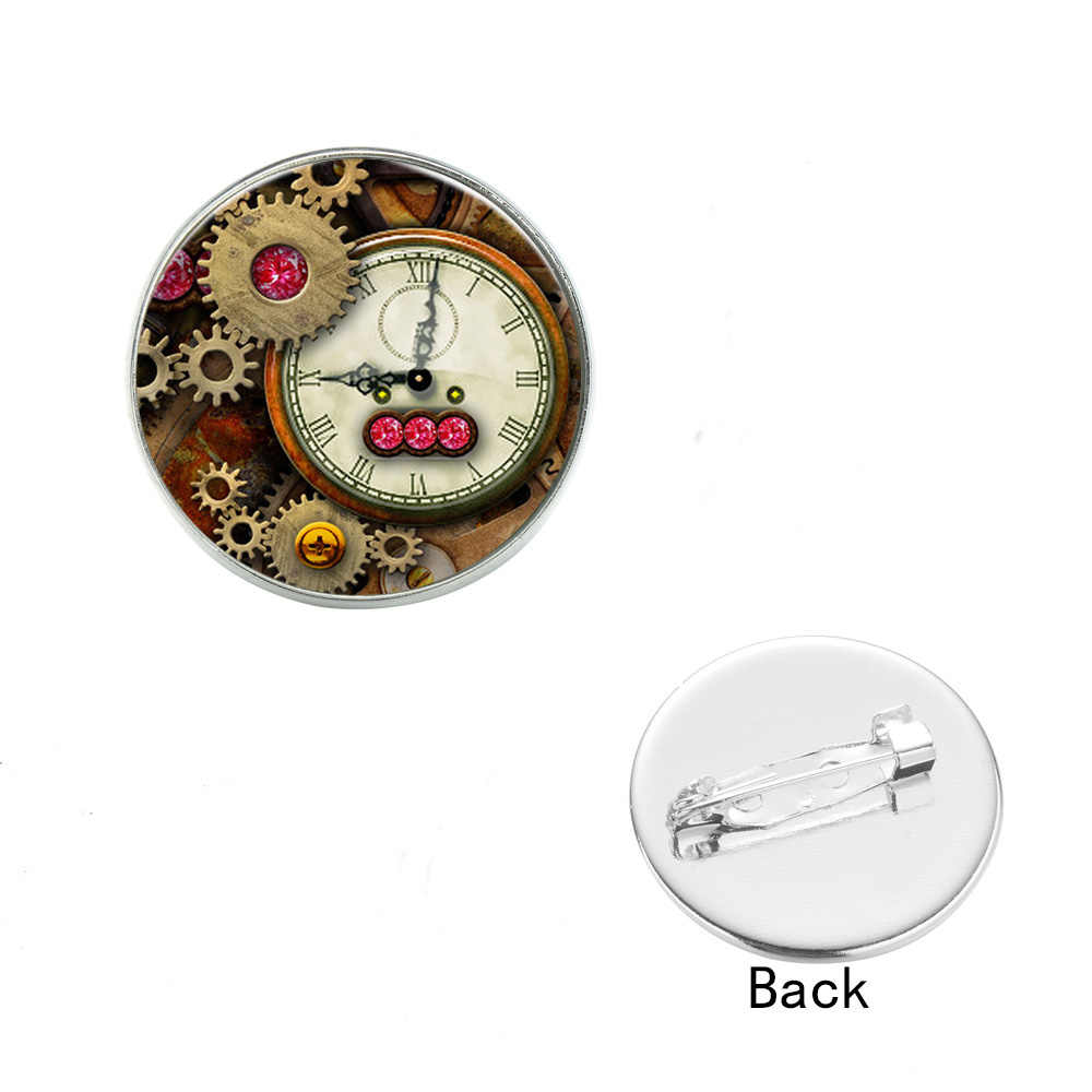 SIAN электронные часы движение брошь псевдо антикварные часы механизм 3D печатных стеклянный камень булавки и броши дляДля женщин рубашкаАксессуары