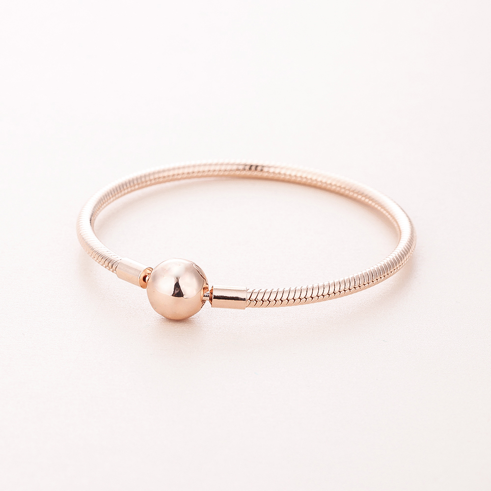 Smooth Rose Clasp Bracelet For Woman DIY Jewelry Making Rose Gold Bracelets Fit Fashion Female Charms & Beads