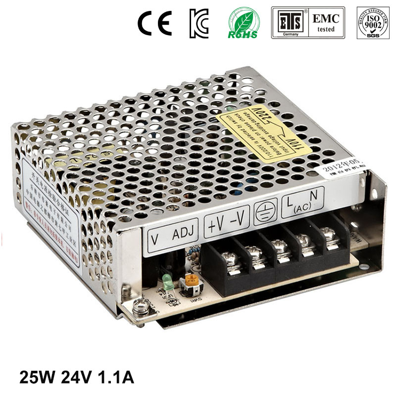 Best quality 24V 1.1A 25W Switching Power Supply Driver for LED Strip AC 100-240V Input to DC 24V free shipping best quality 5v 2a 10w switching power supply driver for led strip ac 100 240v input to dc 5v free shipping