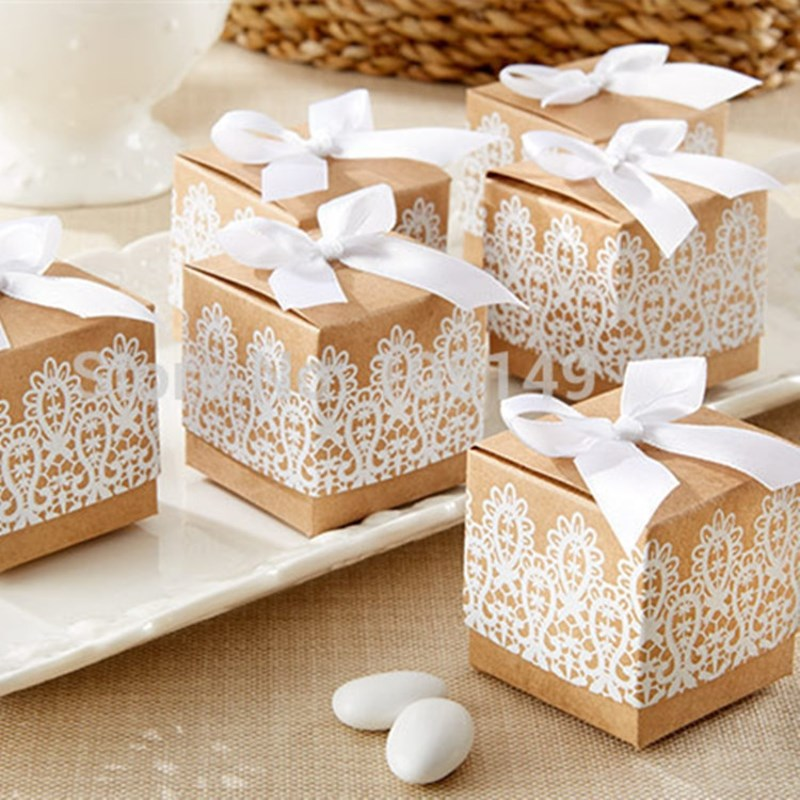 100PCS Lace Bowknot Kraft Paper Candy Boxes Cookies Chocolate Container Gift Box Birthday Wedding Party Decoration Souvenirs