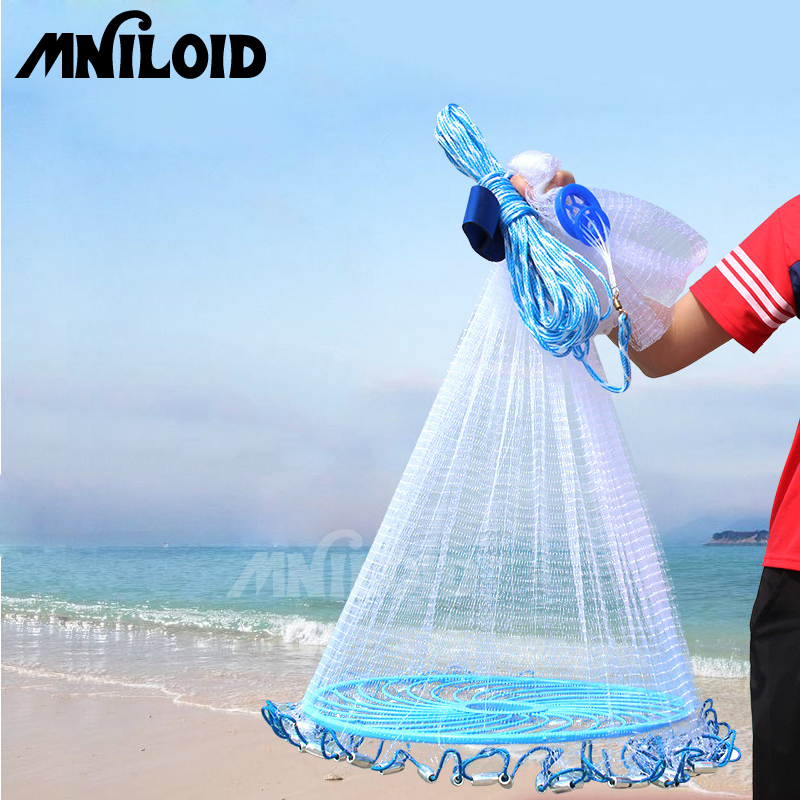 MNILOID Easy throw Cast Net 3m 7 2m American Style Fishing Network Outdoor small mesh with