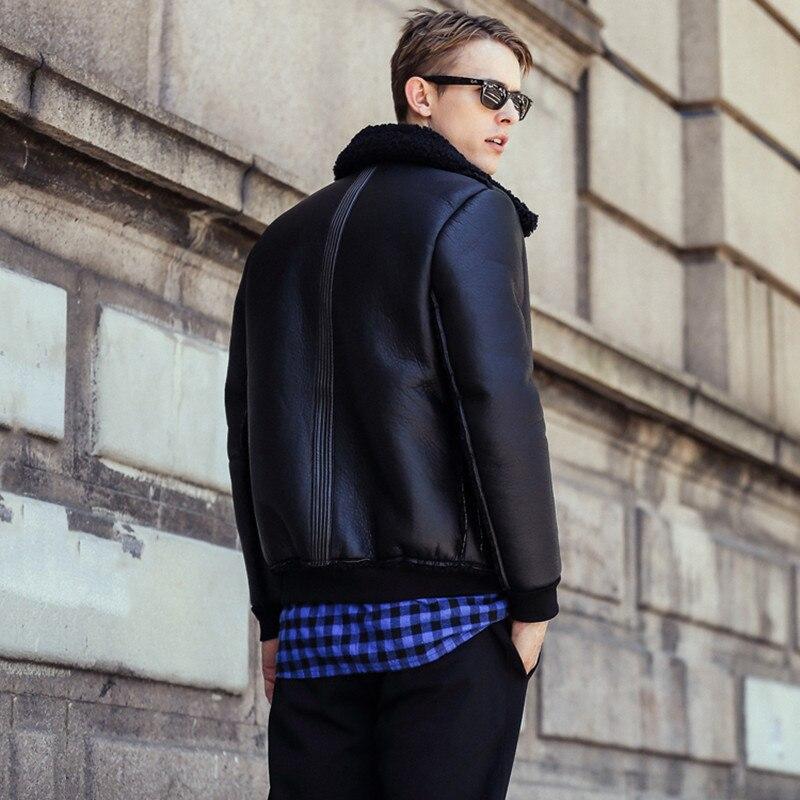Populaire en Europe et en amérique hommes veste en cuir 2019 hiver Airman nouvelle mèche chaude Zipper hommes Faux cuir manteau M-4XL 9615 - 5