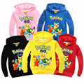 Kids Pokemon Go Spoetswear Boys Hooded Cotton Clothes Autumn Winter Children Pikachu Cartoon Sweatshirt Girls Long Sleeve Coats