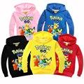 Niños Pokemon Ir Spoetswear Muchachos Encapuchados Ropa de Algodón de Otoño Invierno de Los Niños de Dibujos Animados Pikachu Sudadera Niñas Abrigos de Manga Larga