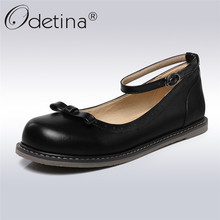 Odetina Classic Mary Janes Women Flats Ankle Strap Round Toe Shoes Fashion Bow Tied Girl Casuasl Shoes Apring Autumn Big Size 43 цены онлайн