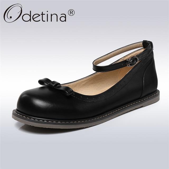 Odetina/Классические Туфли Мэри Джейн для женщин туфли без каблуков, с застежкой на лодыжке обувь с круглым носком мода лук связали девушка Casuasl обувь весна осень большой размер 43