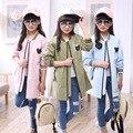 Crianças meninas primavera/outono casaco casaco 2017 nova moda longa seção de roupas das meninas do bebê 4/5/6/7/8/9/10/11/12/13/14 anos