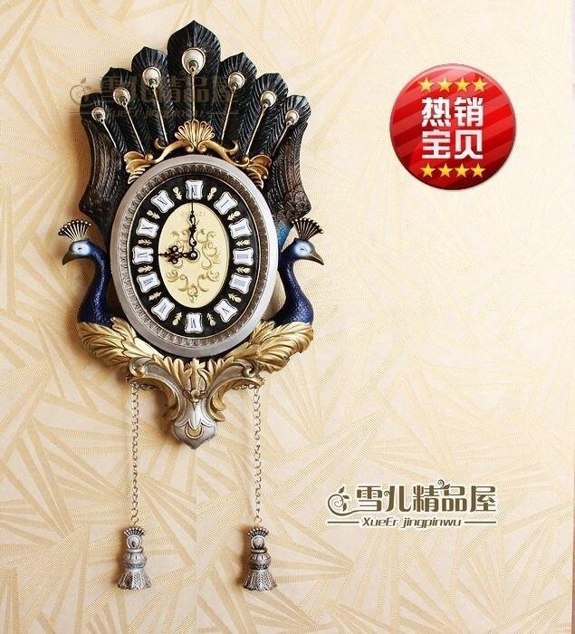 Personalidad creativa/Arte/reloj/dibujo de color manual o diseño estilo azul Pavo Real silencio Reloj de pared