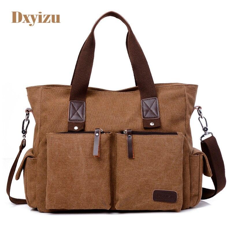 Fashion Casual Canvas Travel Bags for Men High-Capacity Shoulder bags High Quality Travel Duffle Solid Big Horizontal Handbags