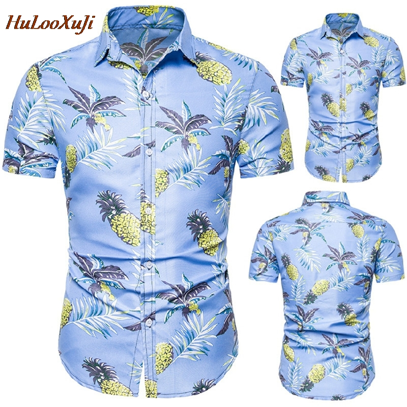 HuLooXuJi New Summer Mens Short Sleeve Beach Hawaiian Shirts Cotton Casual Blue Floral Printed Shirts US Size:S-2XL
