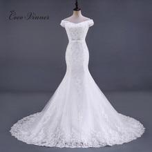 Кружевное свадебное платье Русалка с бисером, свадебное платье без рукавов, со стразами, модель 2020 стандартного шлейфа, белые свадебные платья, WX0081
