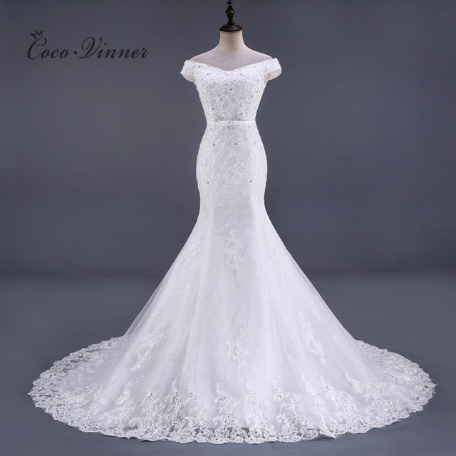 C.V Vestido De Noiva Sleeveless Crystal Beading Lace Mermaid Wedding Dress 2018 Court Train Plus Size White Wedding gowns WX0081