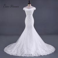 C V Sleeve Less Crystal Beading Lace Mermaid Wedding Dress Chapel Tail Floor Length Ivory Color
