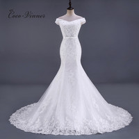 C V Sleeve Less Crystal Beading Lace Mermaid Wedding Dress Chapel Tail Floor Length Ivory Color