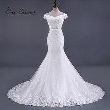 ואגלי תחרת בת ים שמלות כלה Vestido דה Noiva שרוולים קריסטל 2020 משפט רכבת בתוספת גודל לבן שמלות כלה WX0081