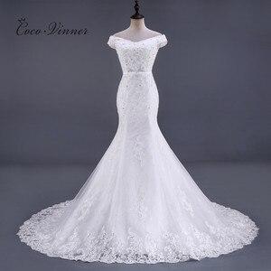 Image 1 - ואגלי תחרת בת ים שמלות כלה Vestido דה Noiva שרוולים קריסטל 2020 משפט רכבת בתוספת גודל לבן שמלות כלה WX0081