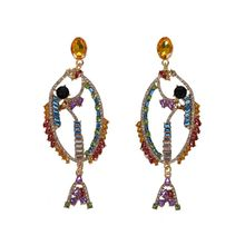 Colorful Shining Crystal Large Fish Bird Drop Earrings Women Statement Jewelry