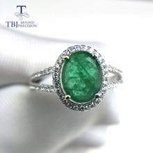 TBJ, 100% טבעי אמרלד טבעת 925 כסף סטרלינג עם אריזת מתנה, אלגנטי דיאנה טבעות עם טבעי אמרלד חן טבעת